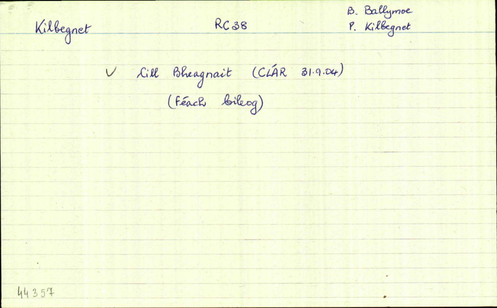 Cill Bheagnait/Kilbegnet   Logainm.ie on